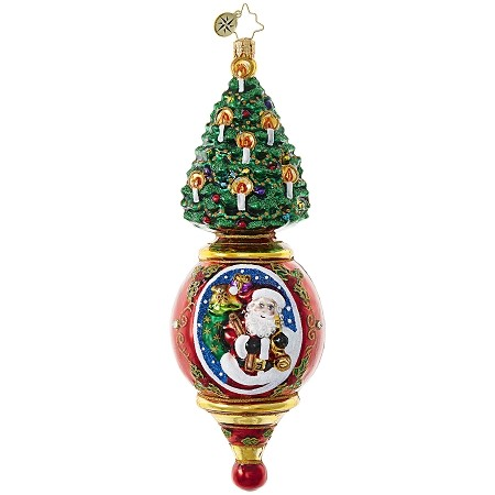 RADKO 1018927 PINK PENDULUM SANTA - TREE WITH BALL WITH SANTA SCENE ORNAMENT - NEW 2017 (17-13)