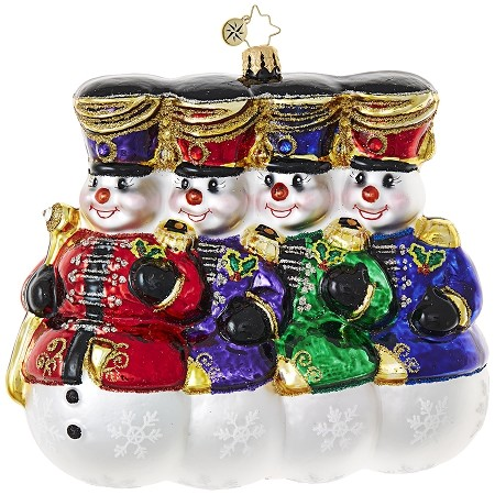 RADKO 1018930 COOL COLOR GUARD - 4 JEWELED DRUM MAJOR SNOWMEN ORNAMENT - NEW 2017 (17-13)