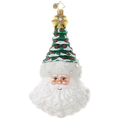 RADKO 1018939 KRIS' TIP TOPPER - JEWELED SANTA WITH TREE HAT ORNAMENT - NEW 2017 (17-13)
