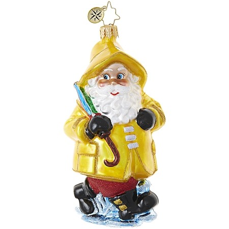 RADKO 1018940 RAINY DAY SANTA - SANTA IN YELLOW RAIN COAT WITH UMBRELLA ORNAMENT - NEW 2017 (17-13)