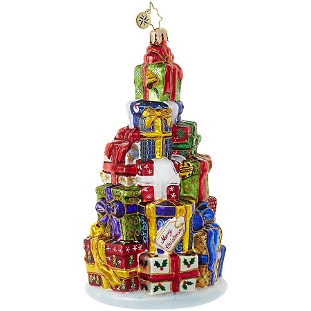 RADKO 1018985 STACK 'EM HIGH - LARGE STACK OF PRESENTS ORNAMENT - NEW 2017 (17-14)