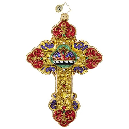 RADKO 1019053 PRINCE OF PEACE - RELIGIOUS - JEWELED CROSS WITH CROWN ORNAMENT - NEW 2017 (17-16)