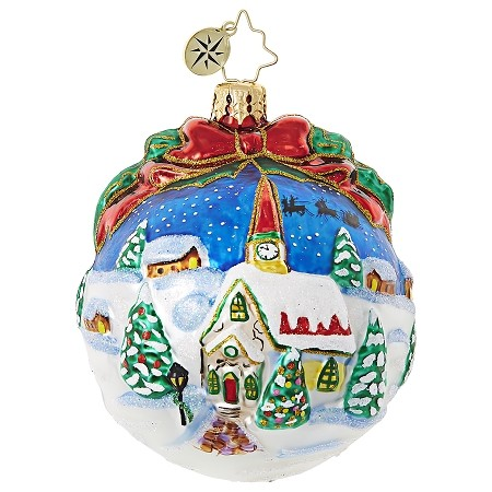 RADKO 1019057 INSPIRING SANTA SILHOUETTE - SNOWY CHURCH SCENE BALL ORNAMENT - NEW 2017 (17-16)