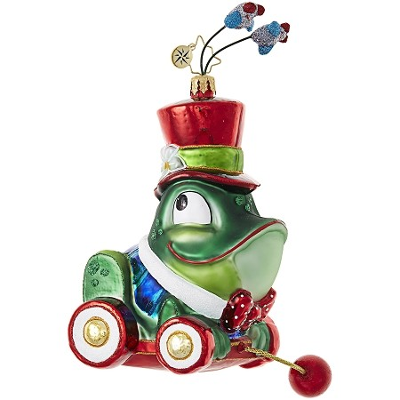 RADKO 1019063 CHRISTMAS CROAKER - FROG WITH TOP HAT CHILDRENS PULL TOY ORNAMENT - NEW 2017 (17-16)