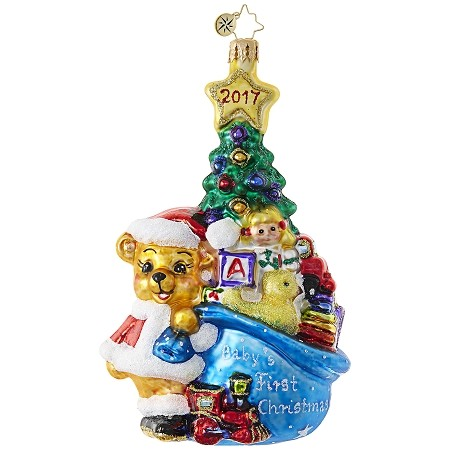 RADKO 1019064 A FIRST FOR EVERYTHING - BABY's FIRST CHRISTMAS - DATED 2017 - TEDDY BEAR WITH BAG OF TOYS ORNAMENT - NEW 2017 (17-16)