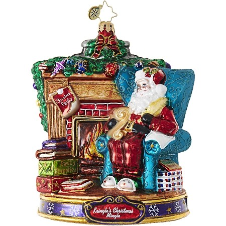 RADKO 1019076 FIRESIDE PARTY PLANNING - KRINGLE'S CHRISTMAS MINGLE - SANTA IN CHAIR BY FIREPLACE ORNAMENT - NEW 2017 (17-1)