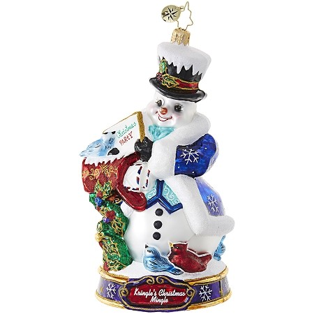 RADKO 1019077 I'M INVITED! - KRINGLE'S CHRISTMAS MINGLE - THE SNOWMAN RECEIVES HIS INVITATION ORNAMENT - NEW 2017 (17-1)