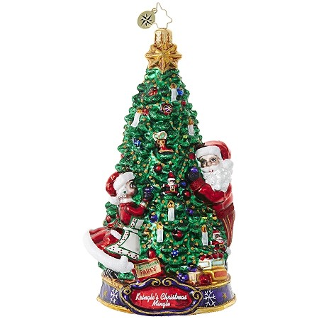 RADKO 1019079 DECK THE HALLS! - KRINGLE'S CHRISTMAS MINGLE - SANTA AND MRS CLAUS DECORATE THE TREE ORNAMENT - NEW 2017 (17-1)