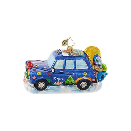 RADKO 1019090 BEATLES YELLOW SUBMARINE TAXI - BEATLES COLLECTION - TAXI WITH YELLOW SUBMARINE DECALS ORNAMENT - NEW 2017 (17-5)