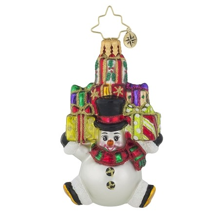RADKO 1019126 SNOW STACKED GIFTS GEM - SNOWMAN AND GIFTS ORNAMENT - NEW 2017 (25-1)