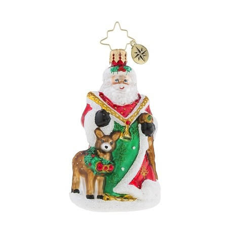 RADKO 1019168 MY DEER SANTA GEM - JEWELED SANTA WITH DEER ORNAMENT - NEW 2018 (26-1)