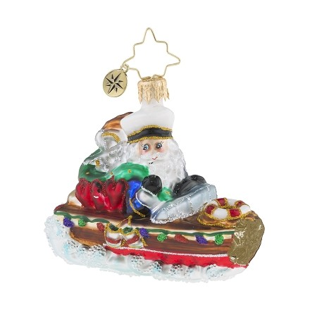 RADKO 1019178 NAUTICAL NICK GEM - SANTA DRIVING BOAT ORNAMENT - NEW 2018 (26-2)
