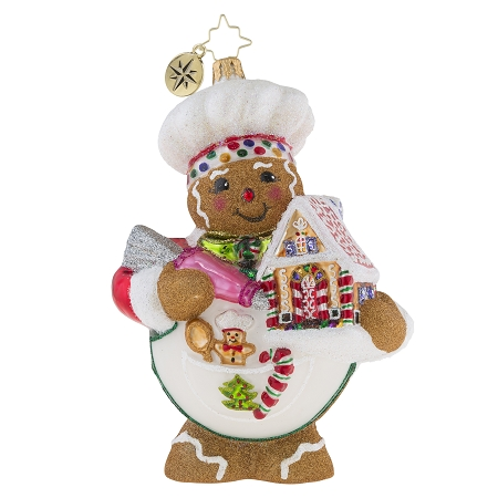 RADKO 1019217 SWEETEST CHEF AROUND - GINGERBREAD CHEF WITH GINGERBREAD HOUSE ORNAMENT - NEW 2018 (68-1)