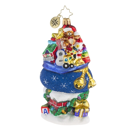 RADKO 1019258 TOO MUCH STUFF! - BLUE BAG OF TOYS & GIFTS ON CHIMNEY ORNAMENT - NEW 2018 (68-1)