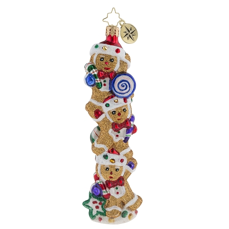 RADKO 1019287 GINGERBREAD BALANCING ACT - 3 GINGERBREAD MEN WITH CANDY ORNAMENT - NEW 2018 (68-1)