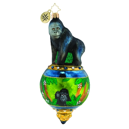 RADKO 1019321 GORILLA IN PARADISE - GORILLA ON JEWELED BALL ORNAMENT - NEW 2019 (68-1)