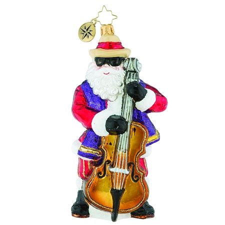 RADKO 1019339 THE JAZZY JUGGERNAUT - COOL SANTA PLAYING UPRIGHT BASS ORNAMENT - NEW 2018 (68-1)