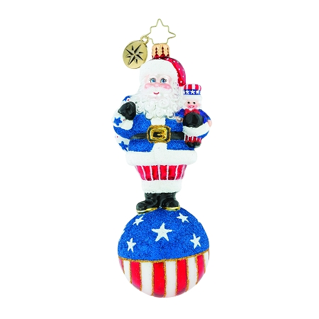 RADKO 1019414 UNITED WE STAND - PATRIOTIC SANTA ON BALL ORNAMENT - NEW 2018 (68-1)
