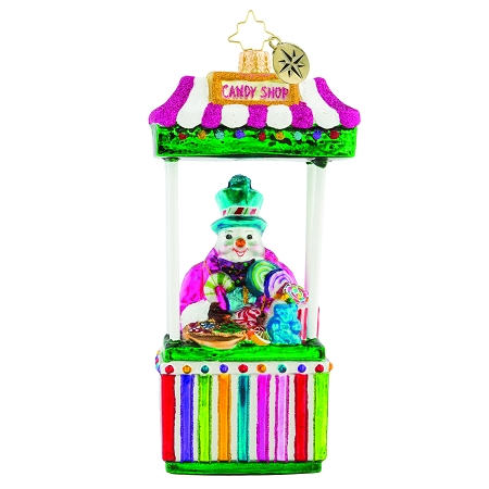 RADKO 1019578 CANDY MAN FAN - SNOWMAN SELLING CANDY IN A BOOTH ORNAMENT - NEW 2018 (68-2)