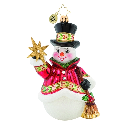 RADKO 1019640 STAR STRUCK SNOWMAN - JEWELED SNOWMAN WITH TOP HAT & BROOM HOLDING NORTH STAR ORNAMENT - NEW 2020 (20-1)