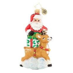 RADKO 1019658 A SANTA SURPRISE - SANTA WITH REINDEER AND GIFTS ORNAMENT - NEW 2019 (68-2)