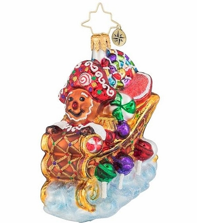RADKO 1019660 HOLD ON TIGHT GEM! - GINGERBREAD MAN IN CANDY SLEIGH ORNAMENT - NEW 2019 (27-1)