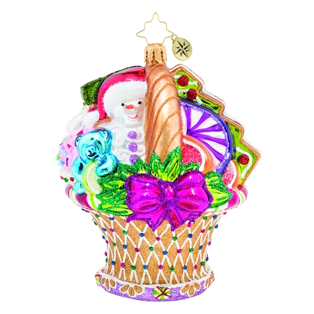 RADKO 1019672 DELICIOUS DELIGHTS - CANDY AND GIFT BASKET ORNAMENT - NEW 2019 (68-2)
