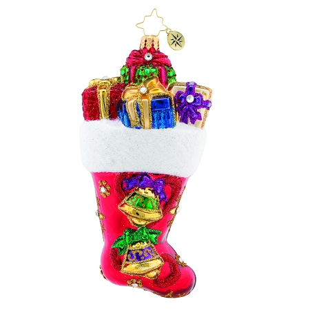 RADKO 1019674 A STOCKING YOU CAN HEAR! - JEWELED STOCKING WITH BELLS AND GIFTS ORNAMENT - NEW 2019 (68-2)