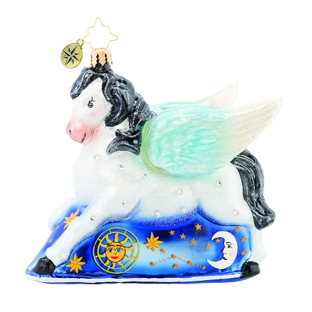 RADKO 1019677 DREAMING OF PEGASUS - JEWELED WINGED HORSE WITH PAINTED CELESTIAL SCENE ORNAMENT - NEW 2019 (68-2)