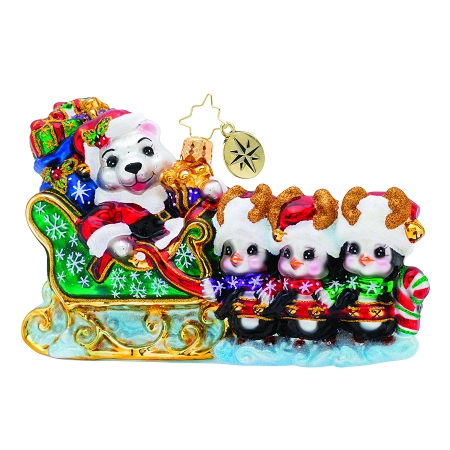 RADKO 1019722 WADDLING THROUGH THE SNOW! - POLAR BEAR IN SLEIGH LED BY 3 PENGUINS ORNAMENT - NEW 2019 (68-2)