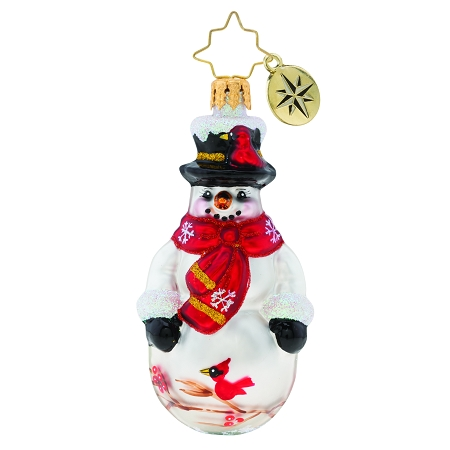 RADKO 1019729 CHRISTMAS CARDINAL KEEPER GEM - SNOWMAN WITH RED SCARF AND BIRDS ORNAMENT - NEW 2019 (27-2)