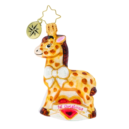 RADKO 1019731 I SPOT MY FIRST CHRISTMAS GEM - 1ST CHRISTMAS - NOT DATED - SPOTTED HORSE ORNAMENT - NEW 2019 (27-2)