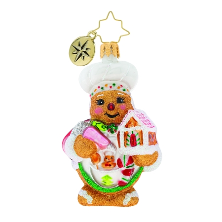 RADKO 1019732 SWEETEST CHEF AROUND GEM - GINGERBREAD MAN WITH GINGERBREAD HOUSE ORNAMENT - NEW 2019 (27-2)