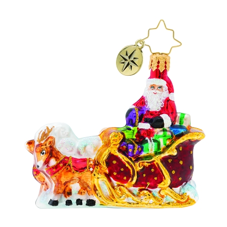 RADKO 1019744 STELLAR RIDE, SANTA! GEM - SANTA IN SLEIGH WITH REINDEER ORNAMENT - NEW 2019 (27-4)