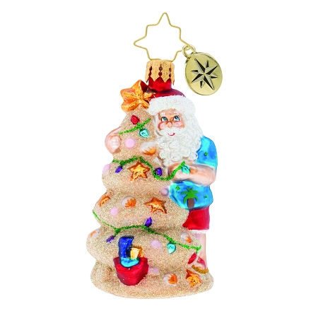 RADKO 1019746 CHRISTMAS IN THE SAND GEM - SALT LIFE - SUMMER - SANTA WITH SAND CASTLE TREE ORNAMENT - NEW 2019 (27-4)