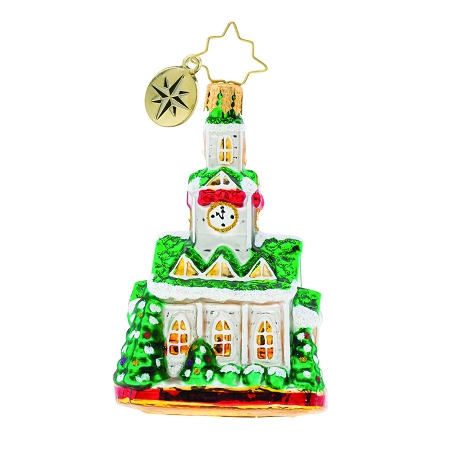 RADKO 1019754 BLESSED GATHERING GEM - GREEN ROOF CHURCH ORNAMENT - NEW 2019 (27-5)