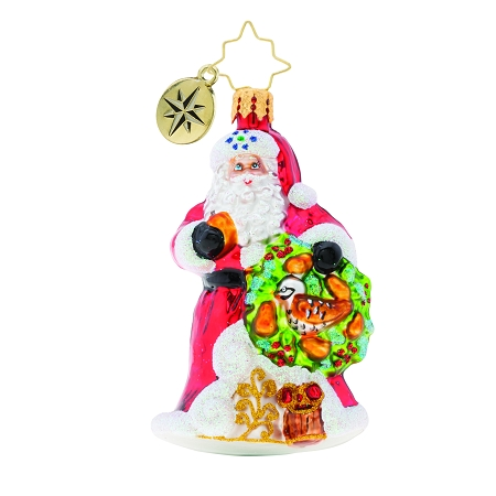 RADKO 1019755 THE PERFECT PEAR GEM - SANTA WITH A PARTRIDGE AND PEAR WREATH ORNAMENT - NEW 2019 (27-6)