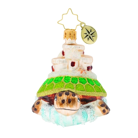 RADKO 1019762 SEA AND CASTLE GEM - SALT LIFE - TURTLE WITH SAND CASTLE ORNAMENT - NEW 2019 (27-7)