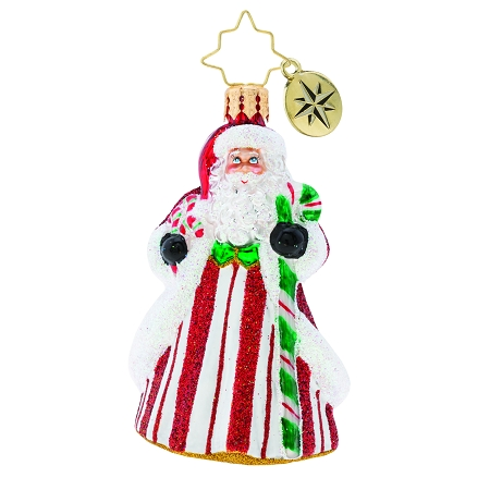 RADKO 1019763 PEPPERMINT CANDY KRINGLE GEM - SANTA IN CANDY CANE COAT ORNAMENT - NEW 2019 (27-7)