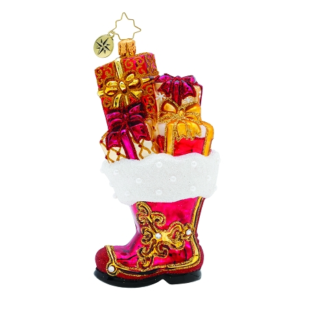 RADKO 1019768 ALL A-BOOT IT! - JEWELED STOCKING BOOT WITH PRESENTS ORNAMENT - NEW 2019 (68-2)