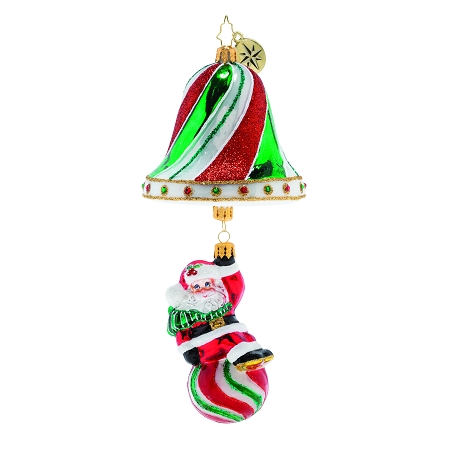 RADKO 1019775 SWINGING INTO THE HOLIDAYS! - CANDY BELL WITH SANTA ON CANDY BALL RINGER ORNAMENT - NEW 2019 (68-2)