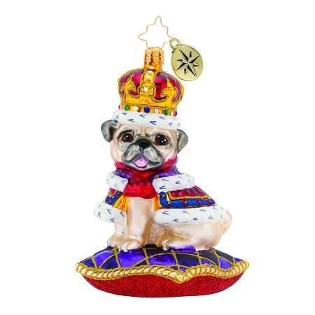 RADKO 1019793 KINGLY MR. PUG - DOG - PUG WITH CROWN ON PILLOW ORNAMENT - NEW 2019 (19-1)
