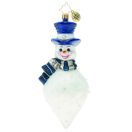 RADKO 1019800 SNOWFLAKE CASCADE - JEWELED SNOWMAN SNOW CONE ORNAMENT - NEW 2019 (68-2)