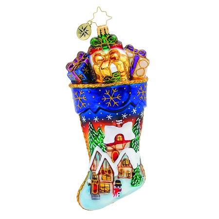 RADKO 1019837 VACATION AT CHRISTMAS INN! - LIMITED EDITION OF 500 - STOCKING WITH PAINTED SCENE AND PRESENTS ORNAMENT - NEW 2019 (19-1)