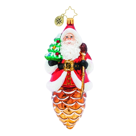 RADKO 1019841 PINE CONE CLAUS - SANTA ON PINE CONE ORNAMENT - NEW 2019 (68-2)
