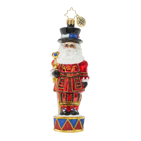 RADKO 1019847 ROYAL BEEFEATER SANTA GUARD - SANTA BEEFEATER ON DRUM ORNAMENT - NEW 2019 (68-2)