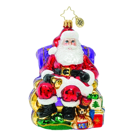 RADKO 1019866 ST. NICK CHRISTMAS VISIT - SANTA IN CHAIR WITH GIFTS AND TOYS ORNAMENT - NEW 2019 (68-2)