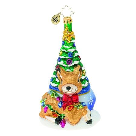 RADKO 1019937 FAWNING OVER THE CHRISTMAS TREE! - DEER IN FRONT OF CHRISTMAS TREE ORNAMENT - NEW 2019 (68-3)