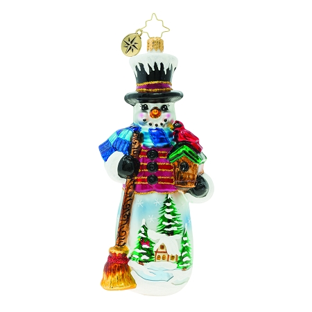 RADKO 1019961 SNOWY CARDINAL NEST - SNOWMAN WITH BIRD HOUSE, CARDINAL, BROOM AND PAINTED SCENE ORNAMENT - NEW 2019 (68-3)