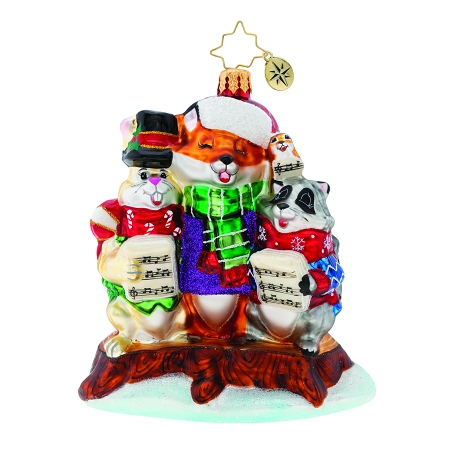 RADKO 1019973  - SWEET SONGS OF CHRISTMAS - A CAROLING FOX, RABBIT, AND RACOON ORNAMENT - NEW 2019 (68-3)